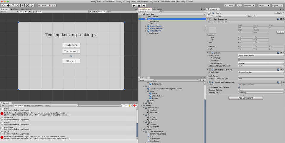 Screenshot of Unity workspace.